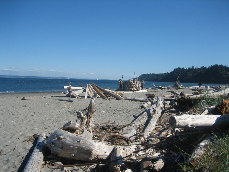 Driftwood on beach and some of the wind shelters people make using driftwood at Hansville, WA Point No Point Lighthouse area 2006