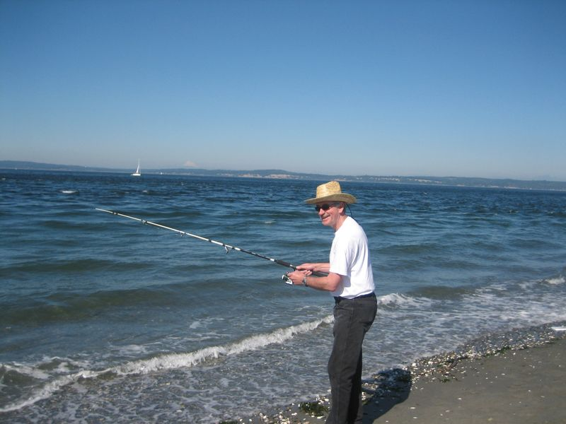 Mark's friend, Jim Tenslow, at Point No Point fishing