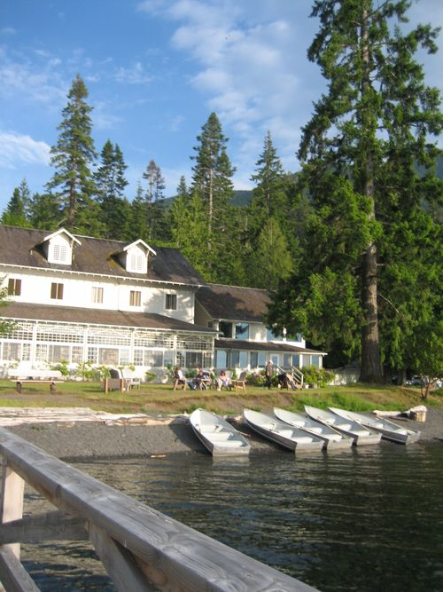 View of lodge at Lake Crescent Lodge, WA, from dock