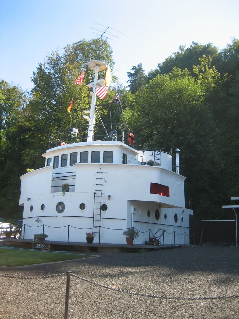 Ship made into house (COOL!) in Hansville, WA, near beach at Point No Point