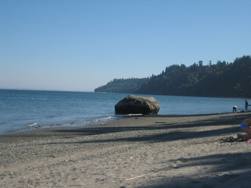 The only large rock on beach at Point No Point Hansville, WA near lighthouse Aug 2006