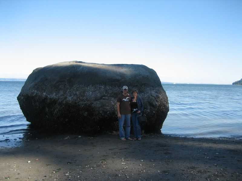 Brandon 23 and Kim 51 with large rock found on beach (the only one around..) Point No Point Lighthouse area, Hansville, WA 2006
