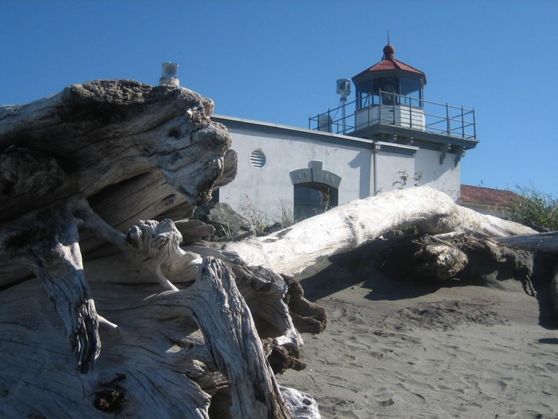Point No Point lighthouse (first on Puget Sound) Hansville, WA with logs