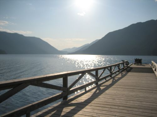 Dock with chairs at end, Lake Crescent Lodge, WA