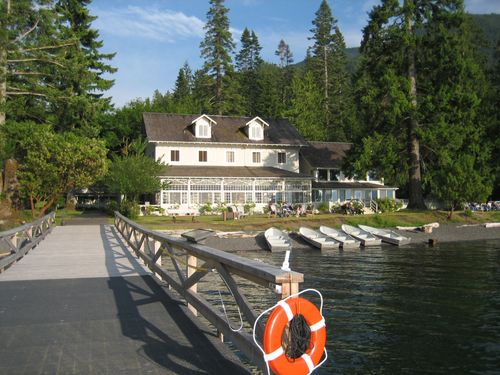 Picturesque view of Lake Crescent Lodge from end of dock June 2006 WA