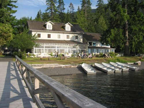 View from dock towards Lake Crescent Lodge June 2006