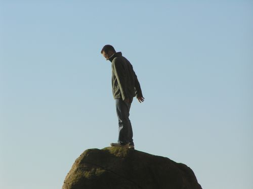 Brandon Lee Henneke at the top of the rock in Arch Cape, Oregon Thanksgiving 08