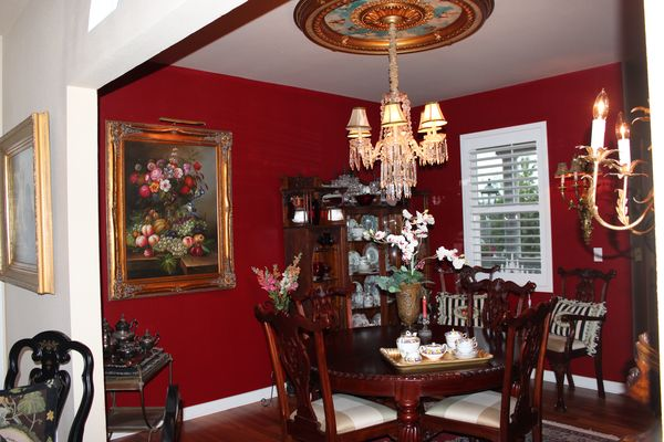 Color me red dining room paint project bluebirds for Red dining room designs