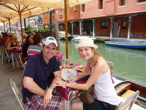 Brandon and Amy having lunch in Italy May 2011