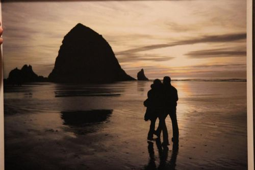 Kim and Mark walking the beach in Oregon
