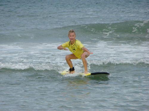 Brenna surfing